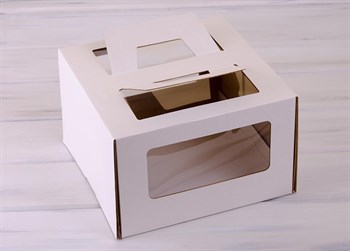 Коробка для торта от 1 до 3 кг, 30х30х19 см,  с ручками и прозрачным окошком, белая